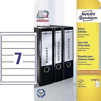 Avery-Zweckform L4760-25 Labels (A4) 38 x 192 mm Paper White 175 pc(s) Permanent Lever arch file labels Inkjet, Laser, C