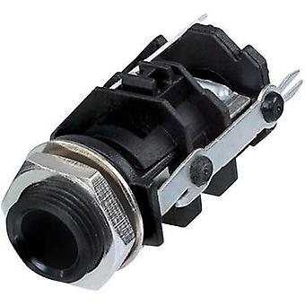 6.35 mm audio jack Socket, vertical vertical Number of pins: 3 Stereo Black Rean AV RJ3VI-D1-CON 1 pc(s)