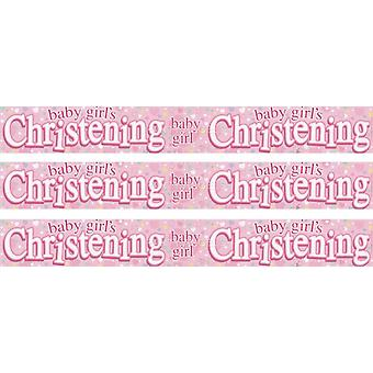 Baby Girls Christening Plastic foil Banner Party Decorations