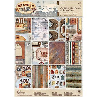 Papermania Ultimate A4 Die-Cuts & Paper Pack 48/Pkg-Mr. Smith's Workshop PM160323