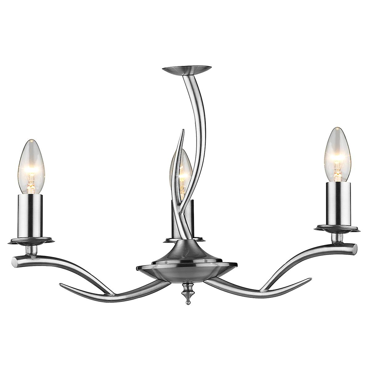 Dar ELK0346 Elka Modern Chrome 3 Arm Double Insulated Ceiling Pendant