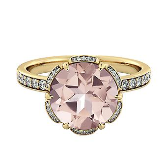 Natural peach/pink 2.50 CTW VS Morganite Ring with Diamonds Yellow Gold 14K Flower Vintage Halo