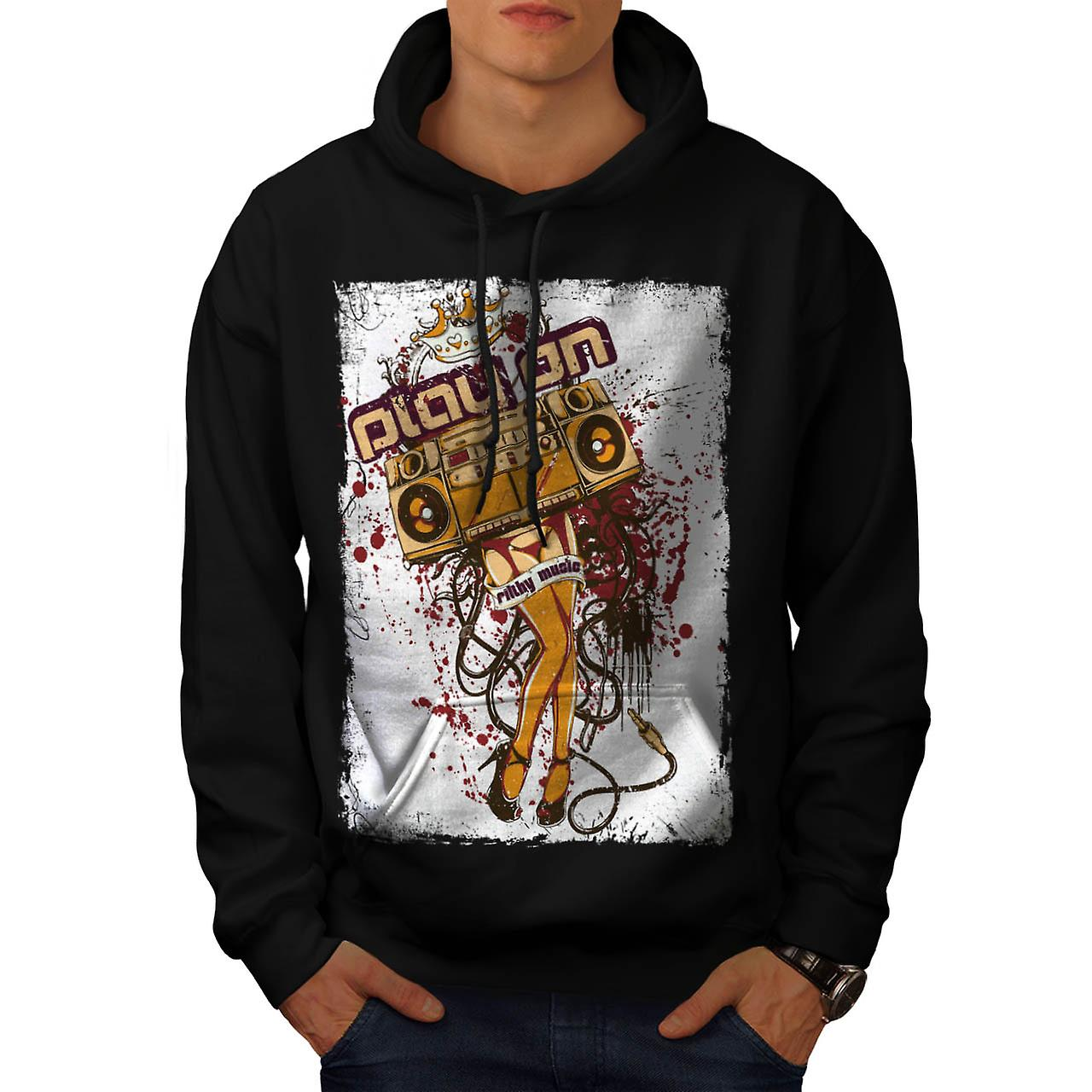 DJ Play On Music Beats Radio Love Men Black Hoodie | Wellcoda