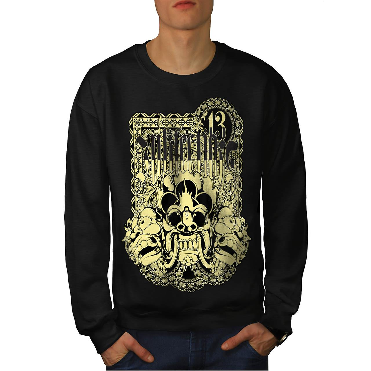 Ink Infection Tattoo Lucky Mask Men Black Sweatshirt | Wellcoda
