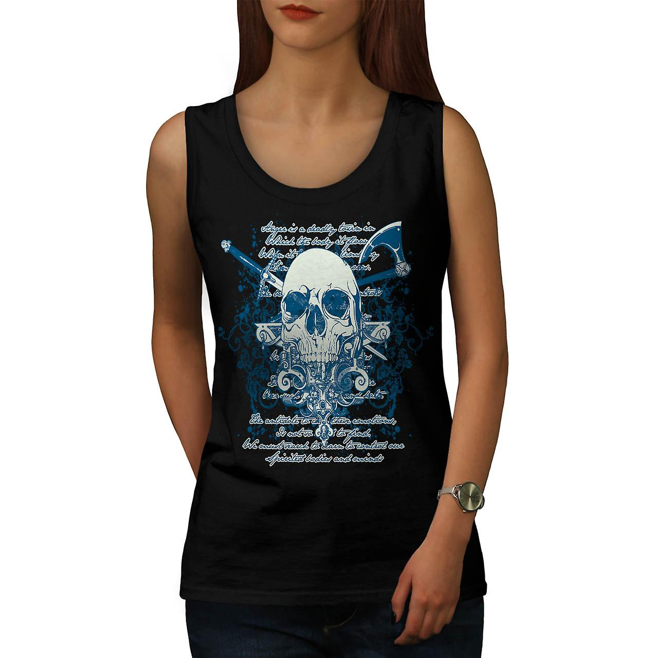 Death Skull Script Monster Death Women Black Tank Top | Wellcoda