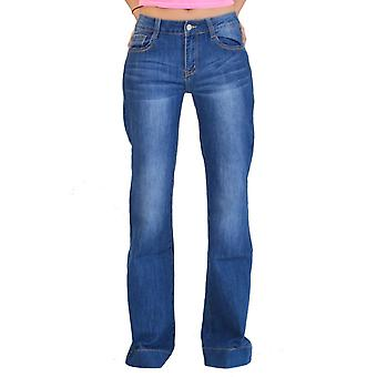 60s 70s Style Stonewash Faded Bootcut Flared Jeans - Blue