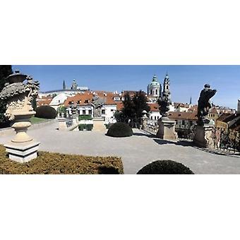 Esculturas en un jardín Vrtbovska jardín Praga República Checa Poster Print