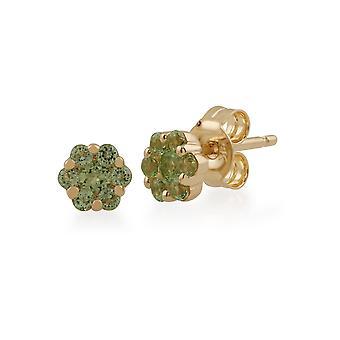 Gemondo 9ct geel gouden 0.29ct Peridot Floral Stud Earrings