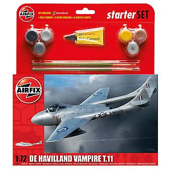 Airfix 1/72 Scala De Havilland Vampire T11 Starter Set