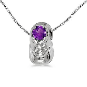 10k White Gold Round Amethyst Baby Bootie Pendant with 16