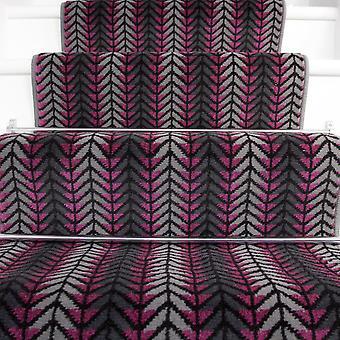 70cm bredde - moderne lilla Chevron trappe tæppe