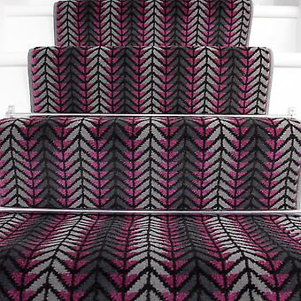 70cm Width - Modern Purple Chevron Stair Carpet