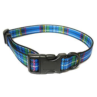 Indulgence Nylon Adjustable Collar Tartan Blue 30-50cm Sz 2-5