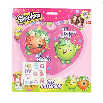 Shopkins Best Friends Forever Heart Shaped Notebook With Stickers Set