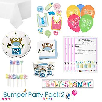 Little Owl Boy Baby Shower Party Tableware Bumper Pack 2