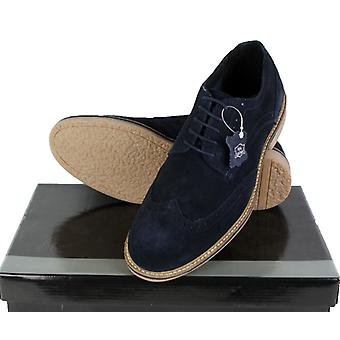 Roamers Mens Real Suede Leather Brogues Dress Casual Summer Mods Shoes Navy