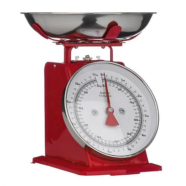 Red Retro Style Kitchen Scale With Stainless Steel Bowl Max. Weight 5Kg