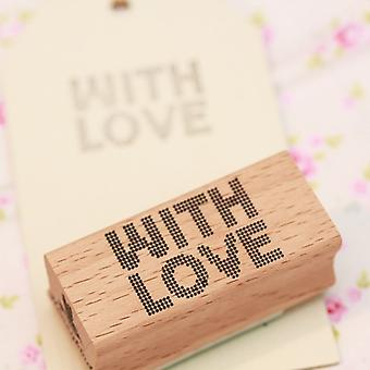 With Love Rubber Wooden Stamp - Scrapbooking / Craft / Wedding Favours
