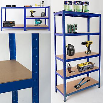 Heavy Duty Steel 5 lags racket & opbevaringshylder eller Workbench - store 875kg kapacitet (blå)