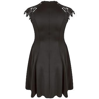 PRASLIN Black Skater Dress With Lace Shoulders