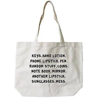 Women's Reusable Canvas Bag- Belongings Natural Canvas Tote Bag  18x14inch