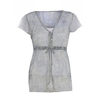 M & S Chiffon Waist Tie Short Sleeve Blouse TP217-14