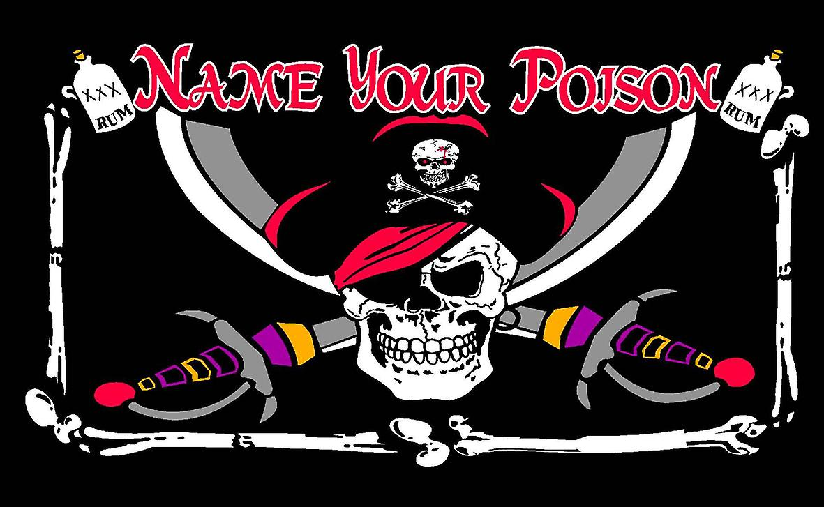 5ft x 3ft Flag - Pirate - Name your poison