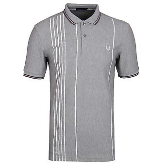 Fred Perry Steel Marl Vertical Stripe Short Sleeve Polo Shirt
