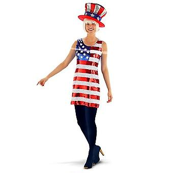 USA Kleid Amerika Pailetten Kostüm Stars and Stripes Damen