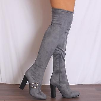 Shoe Closet Over The Knee Boots - Ladies Grey D3-2B Faux Suede Over The Knee High Stretch Buckle High Heels Boots