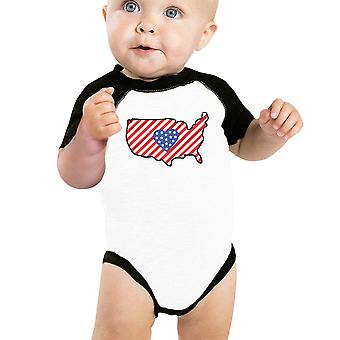 American Flag Pattern USA Map Baby Bodysuit Cute Raglan Baseball Tee