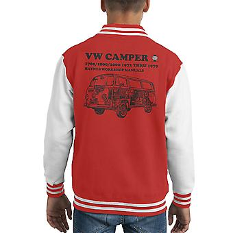 Haynes Workshop Manual VW Camper 72 To 79 Black Kid's Varsity Jacket