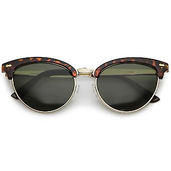 Women's Cat Eye Sunglasses Engraved Nose Bridge Semi Rimless Oval Lens 55mm