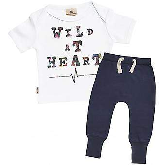 Verwöhnte faulen Wild At Heart Baby T-Shirt & Navy Jogger-Outfit-Set