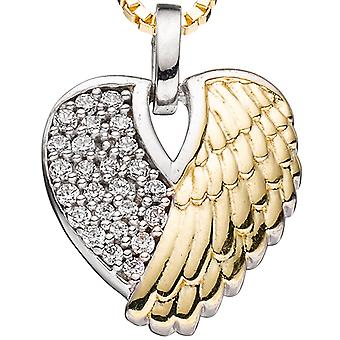 Heart / Angel Wings pendant 925 Silver bicolor gold plated with cubic zirconia