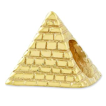 Sterlingsilber polierte Antikfinish Gold-Flashed Reflexionen Pyramide Bead Charm
