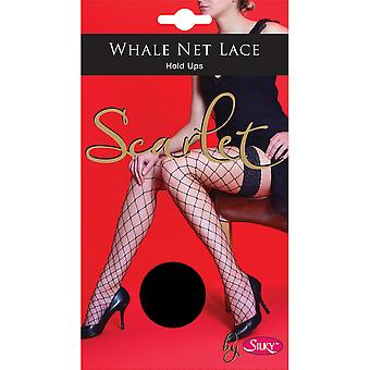Silky Womens/Ladies Scarlet Whale Net Lace Top Hold Ups (1 Pair)