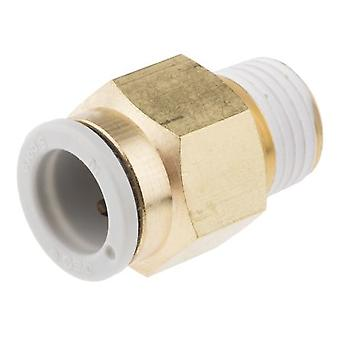 SMC Pneumatic Straight Threaded-To-Tube Adapter, R 1/4 Male, Push In 10 Mm