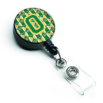Letter O Football Green and Gold Retractable Badge Reel