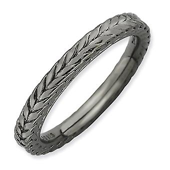 2.5mm Sterling Silver Polished Patterned Domed band Ruthenium plating Stackable Expressions Black-plated Domed Ring - Ri
