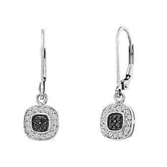 1/4 Carat (ctw I2-I3) Enhanced Black and White Diamond Earrings in 14K White Gold