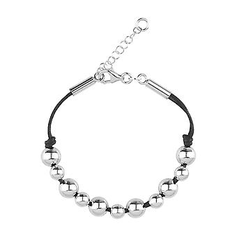 Sterling Silver Handmade Womens Girls Solid Fine Beads Bracelet with Adjustable Length Italian Craftsmanship