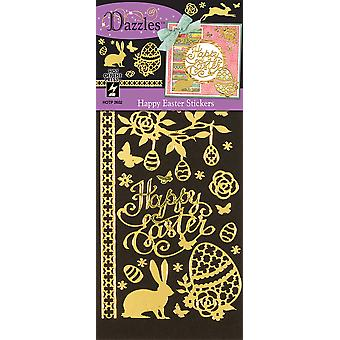 Dazzles Stickers-Happy Easter, Mirror Gold & Gold Foil DAZ-2602