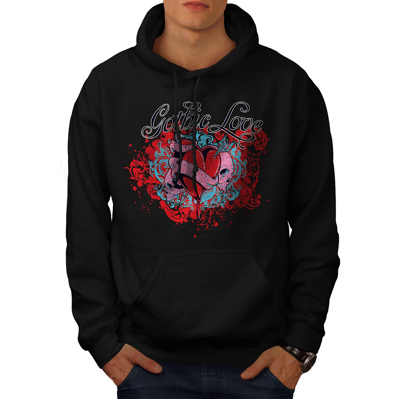 Gothic Love Heart Skull Men Black Hoodie | Wellcoda