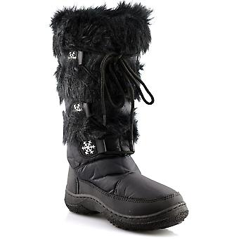 Ladies Womens Full Faux Fur Lined Winter Mid Calf Snow Boots Shoes