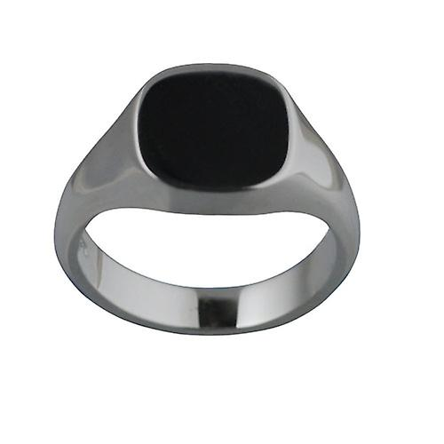 Silver 14x13mm plain solid cushion Signet Ring Size W