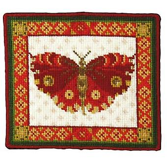 Red Butterfly Needlepoint Canvas