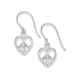 925 Sterling Silver Heart Peace Sign Dangle Earrings