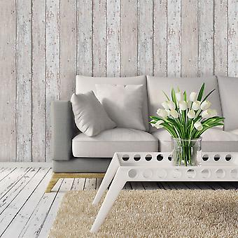Wood Effect Wallpaper Grains Distressed Boards Planks Luxury Grey Brown Erismann