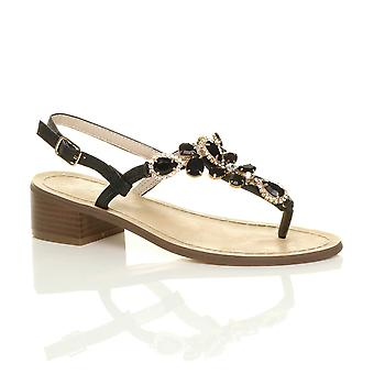 Ajvani womens low mid block heel buckle t-bar gem diamante toe post sandals